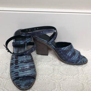 Freda Salvador Blue Tejus Snakeskin Sandals